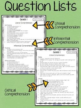 literal  inferential comprehension questions   book grade
