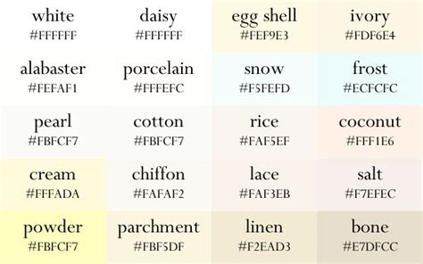 white color names color names now in gradient order in 2019 color palette