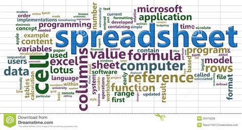 Spreadsheet Cloud by Spreadsheet Wordcloud Royalty Free Stock Photos Image