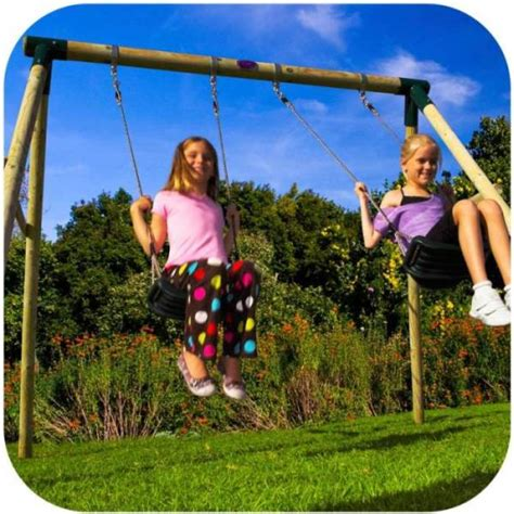 kids double swing plum kids double swing set w wooden frame buy outdoor