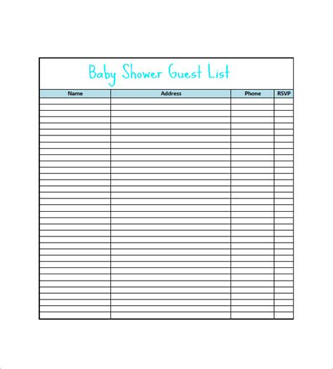 Baby Shower List Template by Baby Shower Gift List Template 8 Free Word Excel Pdf