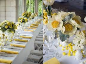 yellow and gray centerpieces wedding colors yellow marrying later in