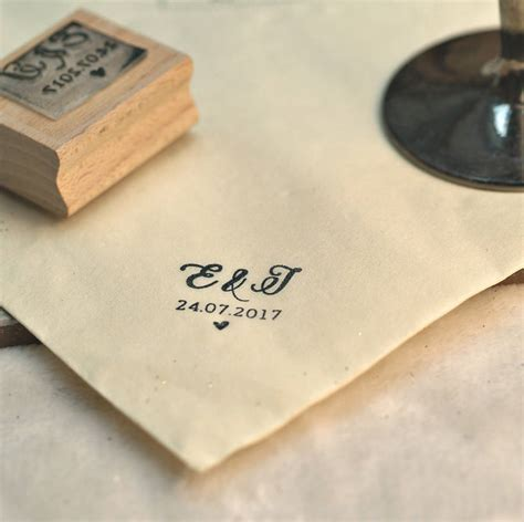 initials wedding favour rubber stamp by pretty rubber