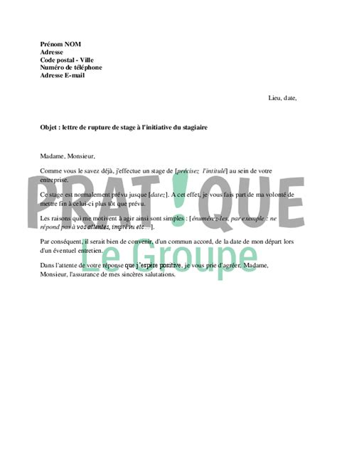Lettre De Démission Stage lettre de demande de rupture de stage 224 l initiative du stagiaire pratique fr