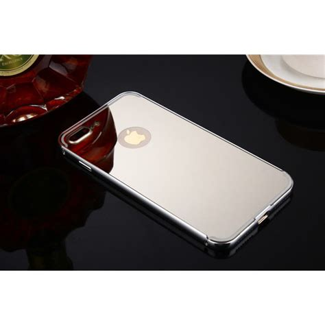 aluminium bumper with mirror back cover for iphone 7 plus silver toko fatih
