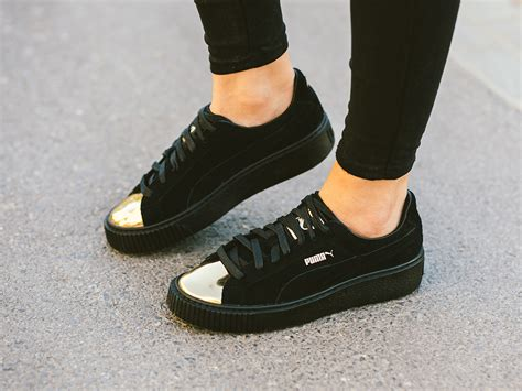 damen schuhe sneakers puma suede platform gold