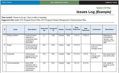 Issue Log Template 13 Free Sle Issue Log Templates Printable Sles