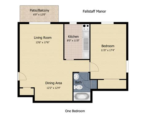 one bedroom apartment square footage fallstaff manor apartments in mt washington pikesville