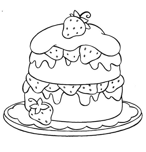 cake with a delicious strawberry coloring book pages strawberry cake coloring pages strawberry cake coloring