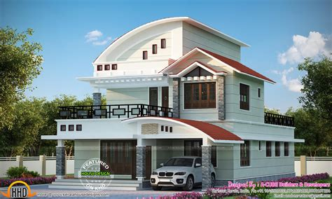 kerala home design 1500 sq ft curved roof mix house kerala home design lovin