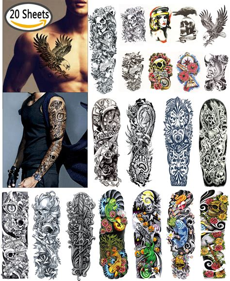 fake tattoo sleeves for men leoars 2 sheets large temporary