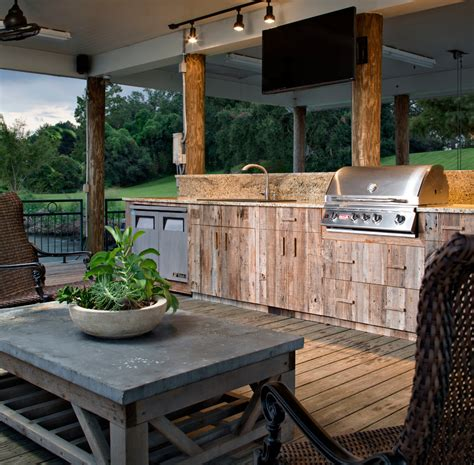 Kitchen Window Treatment Ideas barn wood cabinets deck traditional with barbecue ceiling