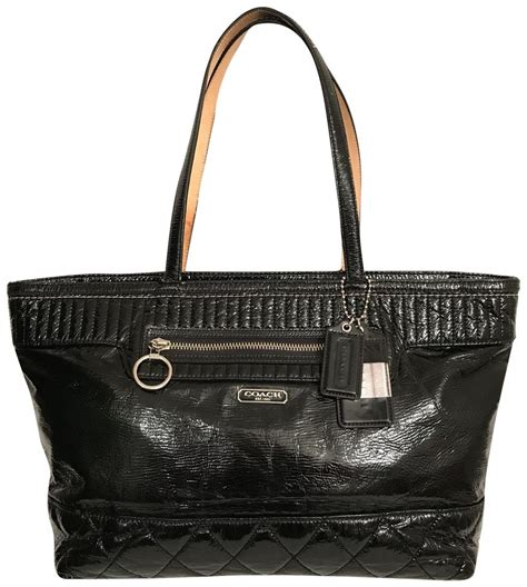Coach Htons Weekend Travel Satchel by Coach Black Silver Patent Leather Kelsey Tote Tradesy
