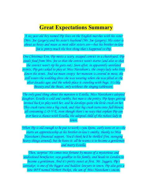 great expectations themes slideshare great expectations summary