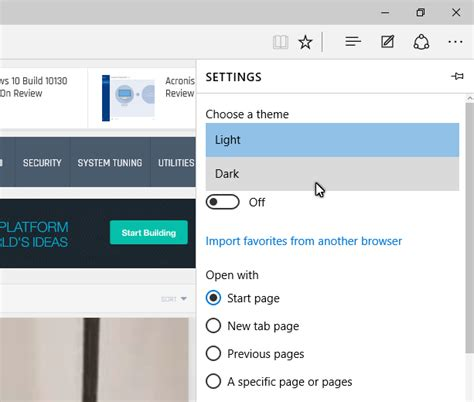 themes for microsoft edge browser microsoft edge in windows 10 build 10158 and 10159 a