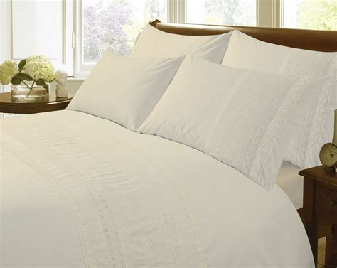 living ribbon patchwork embroidered duvet cover setkingsize kliving embroidered duvet cover set ivory pale bedding ebay