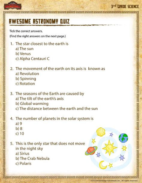 3rd Grade Science Worksheets by Awesome Astronomy Quiz View Science Activities