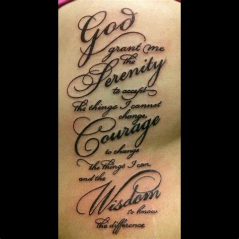 serenity prayer love the font tattoo planning