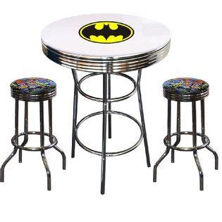 the furniture cove batman bat the furniture cove batman bat signal logo glass top chrome metal white bar pub table set with 2