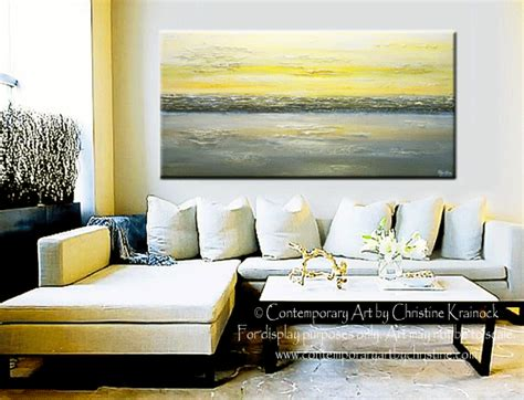 Yellow And Grey Home Decor Giclee Print Abstract Painting Yellow Grey Wall Coastal Canvas Contemporary By