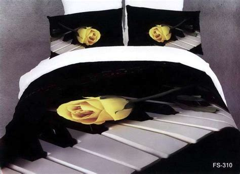 music note bed set 3d black and white rose music note bedding comforter sets