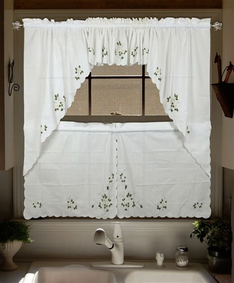 upscale lu embroidered valance curtains swag and tier set