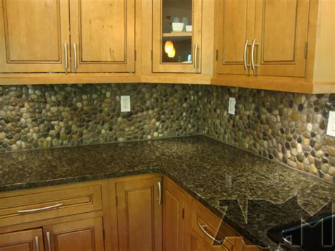 rock kitchen backsplash river pebble tile kitchen backsplash a diy project