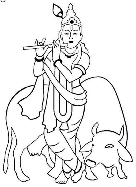 shri krishna janmashtami coloring printable pages for kids