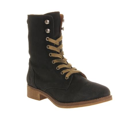 womens office brat pack lace up black suede boots ebay