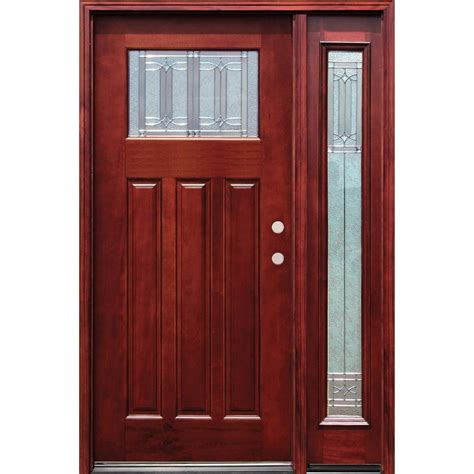 Front Entry Door With Sidelites Pacific Entries 54 In X 80 In Diablo Craftsman 1 Lite Stained Mahogany Wood Prehung Front Door