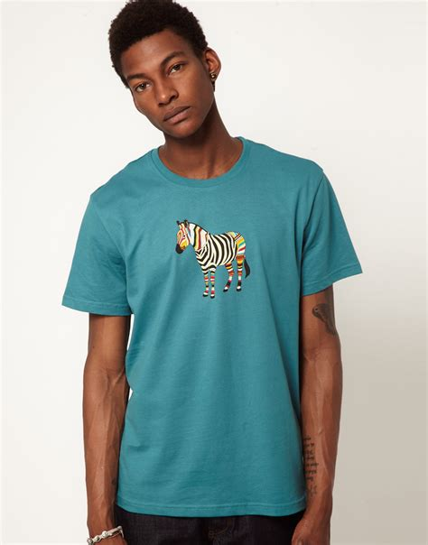 Paul Smith T Shirt Blue paul smith zebra tshirt in blue for lyst