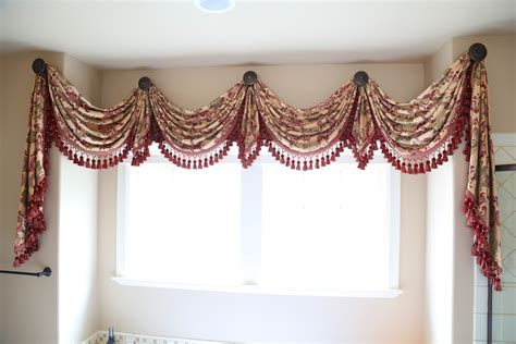 drapes and swags rosy queen swags over rosette valance curtain drapes