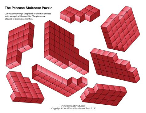 printable optical illusions penrose stairs endless staircase printable optical