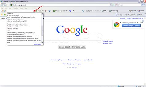 google search toolbar internet explorer all of your previous search queries should be shown