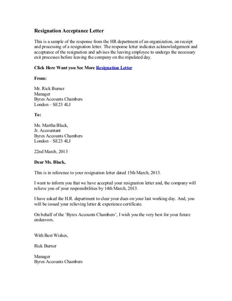 Acceptance Of Resignation Letter From Hr Resignation Acceptance Letter
