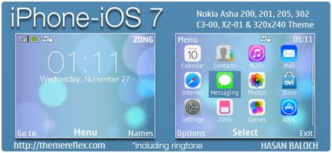 themes in nokia asha 200 iphone ios 7 theme for nokia c3 00 x2 01 asha 200 201