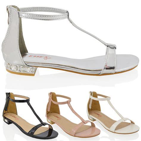 Sandal Heels Ip21 3 womens diamante flat low heel sandals evening ankle shoes 3 8 ebay
