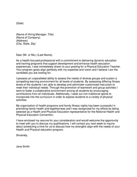 Education Cover Letter New by Physical Education Cover Letter