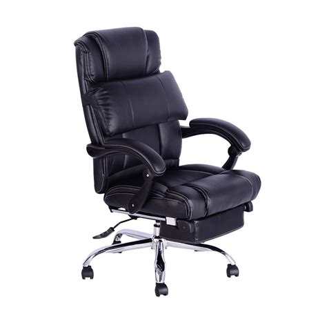 Reclining Office Chairs With Footrest by Executive Reclining Office Chair Footrest Black Aosom Ca
