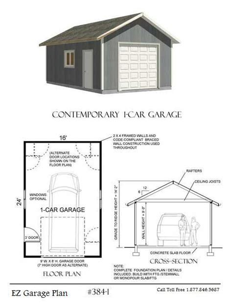 single garage plans ez garage plans