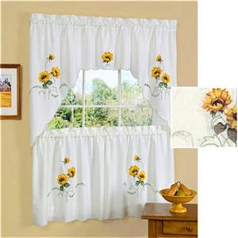 3 pc sunflower kitchen curtains tier swag set