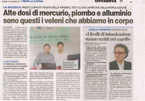 articolo di giornale sull alimentazione indagine mineral test monitoraggio nella regione marche