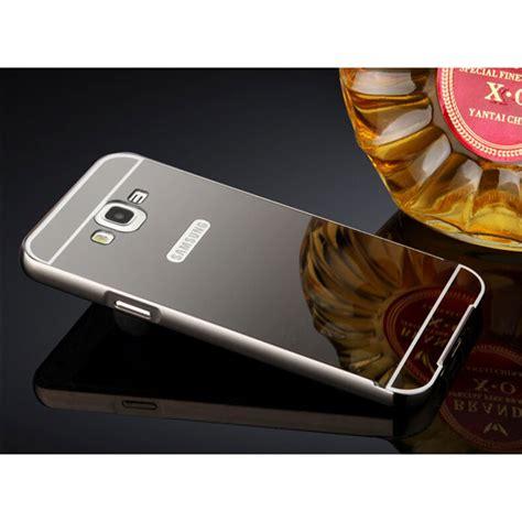 Samsung Galaxy J5 2015 Aluminium Bumper With Mirror Back Cover Black aluminium bumper with mirror back cover for samsung galaxy