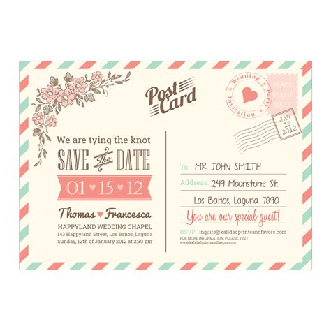 postcard air mail wedding save the date diy printable template