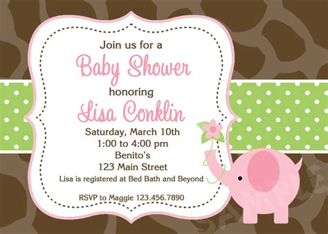 couples baby shower invitations pink and gray elephant