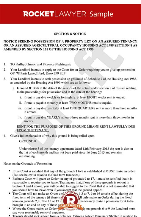 Section 8 Notice Section 8 Notice To Quit Section 8