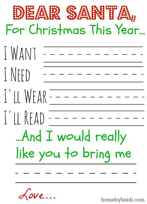 Home By Heidi Letter To Santa I Need A Will Template