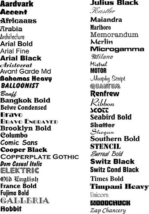 printable font names 4 best images of all fonts styles all different types of