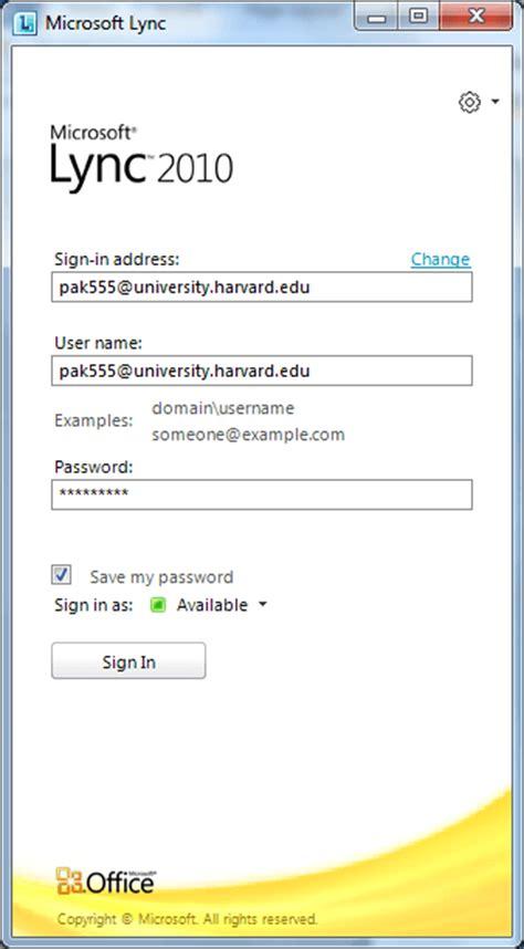 Office 365 Harvard Microsoft Lync To Login And Install Hsph