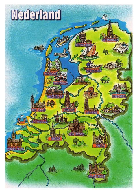 netherlands attractions map tourist illustrated map of netherlands netherlands